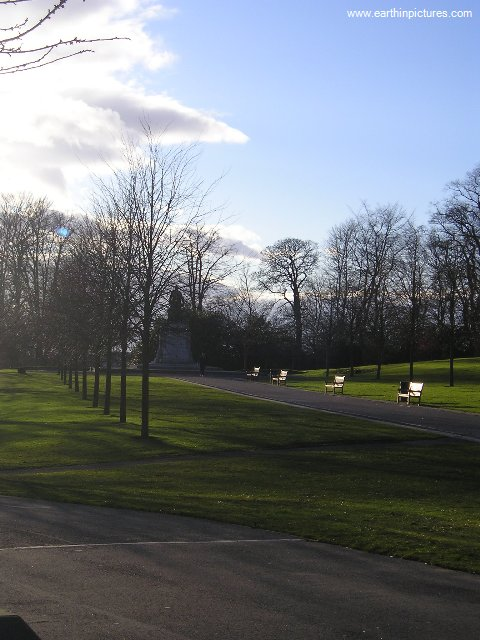 Andrew Carnegie Statue in Pittencrieff Park from afar ( 480x640 )