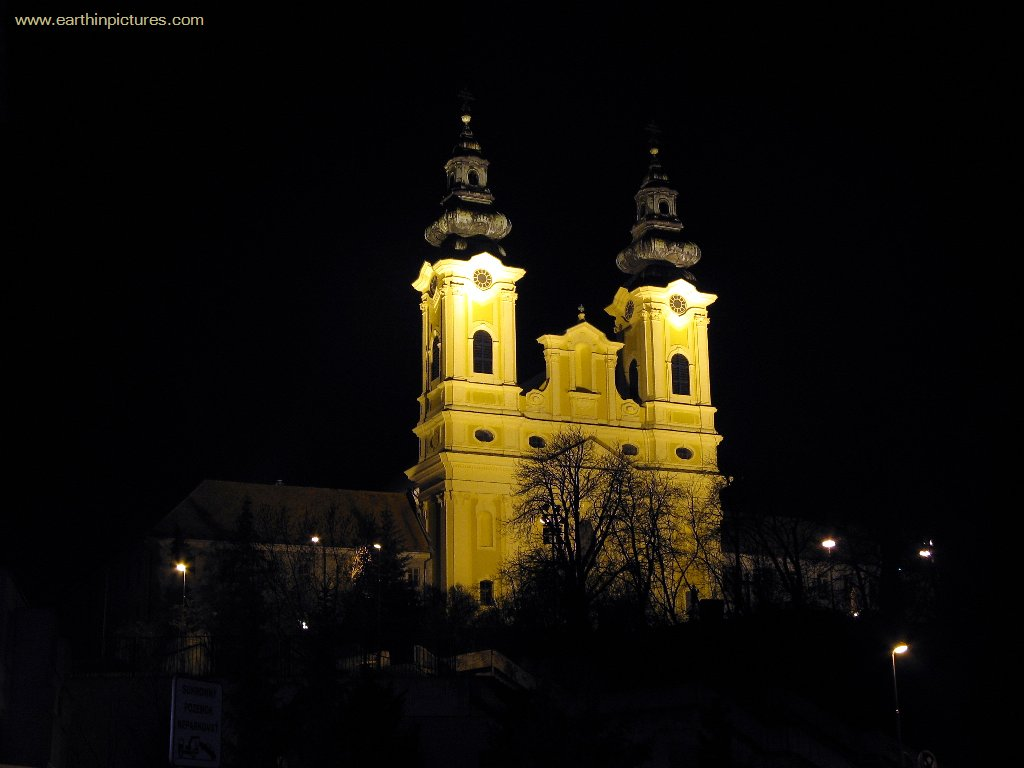 Piarist Monastery Complex with St. Ladislav Church at NIght ( 1024x768 )