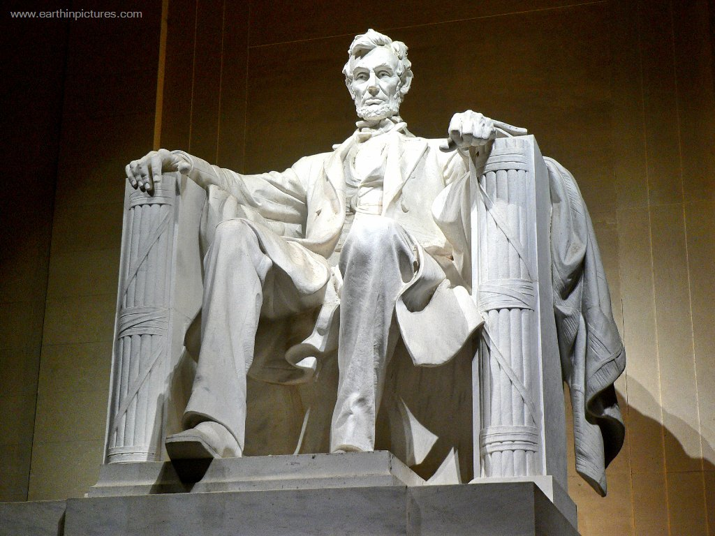 Daniel Chester French sculpture of Abraham Lincoln inside the Lincoln Memorial ( 1024x768 )